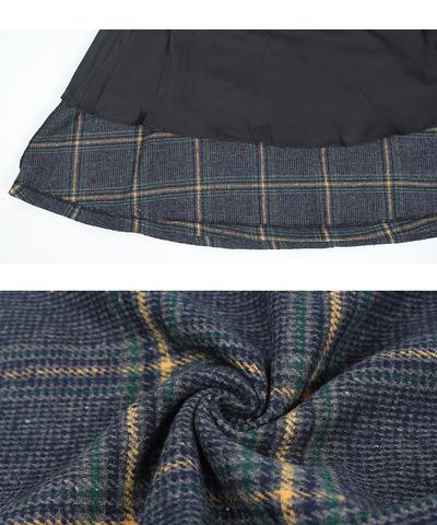 グレンチェック グレーと緑 黄色 フレアスカート