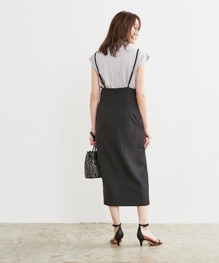 フロントスリットサロペットスカート(商品番号:BUXU0641)