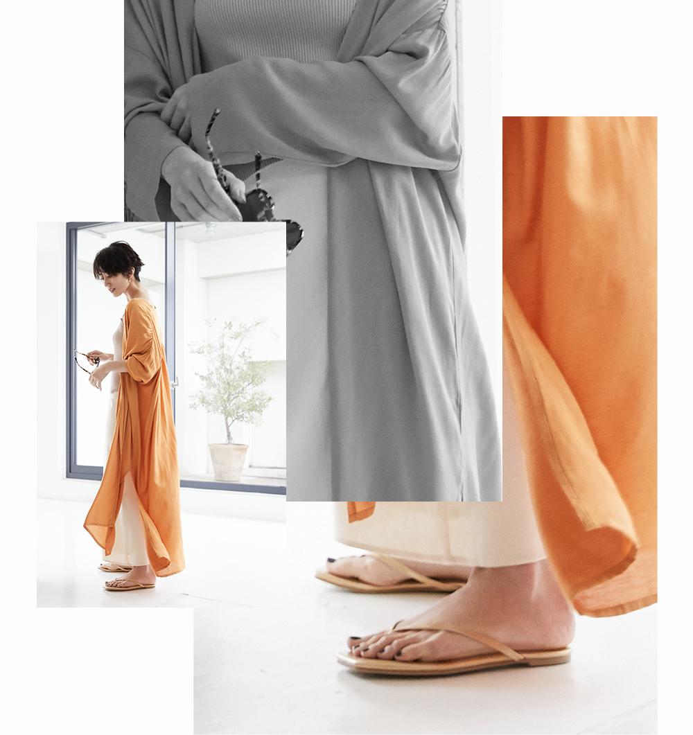オーバーサイズガウンと麻混セミフレアスカート着用の神山まりあさん3