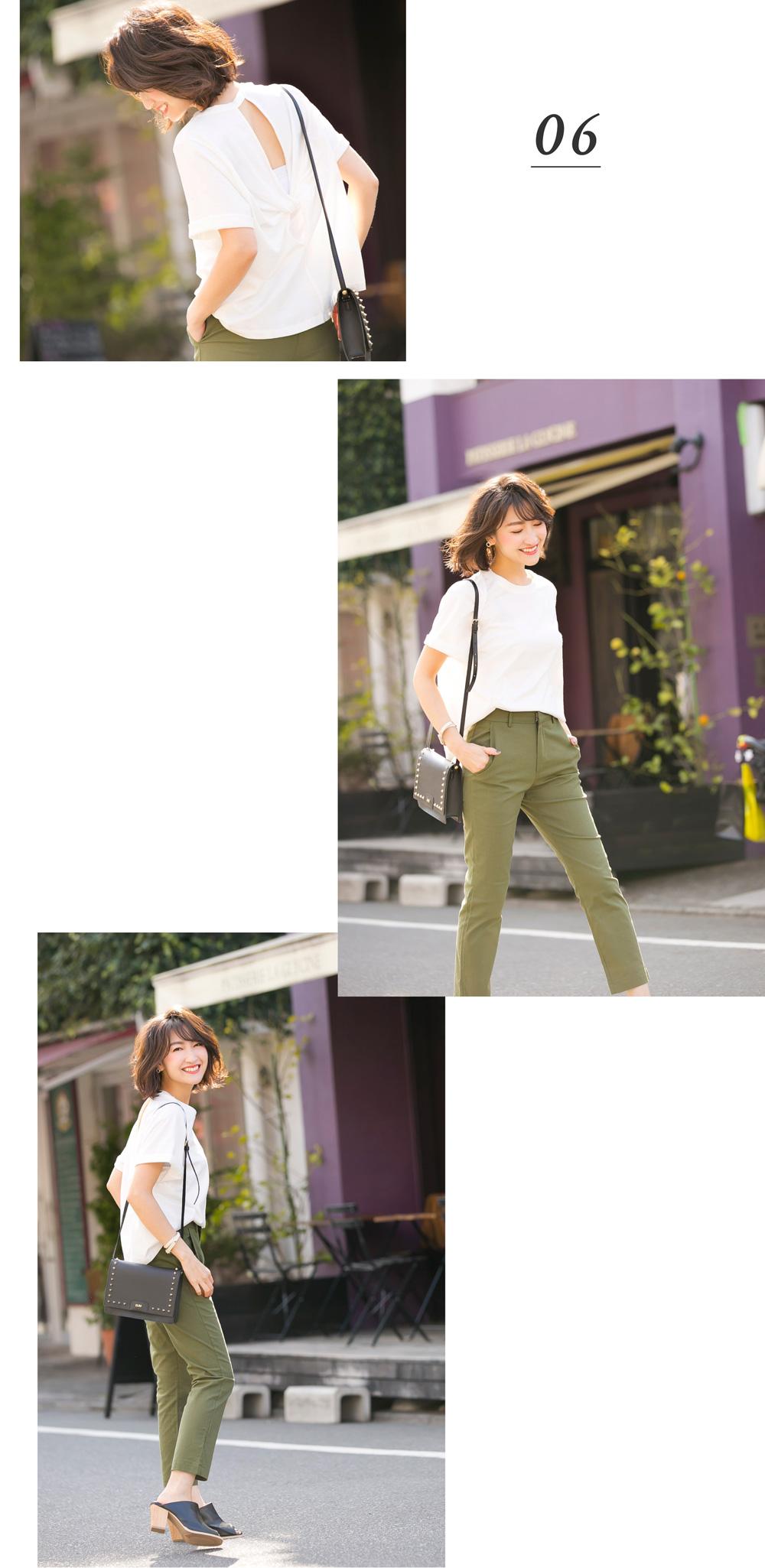 金子麻貴さんがプルオーバーにストレートパンツを合わせたコーデでポージング