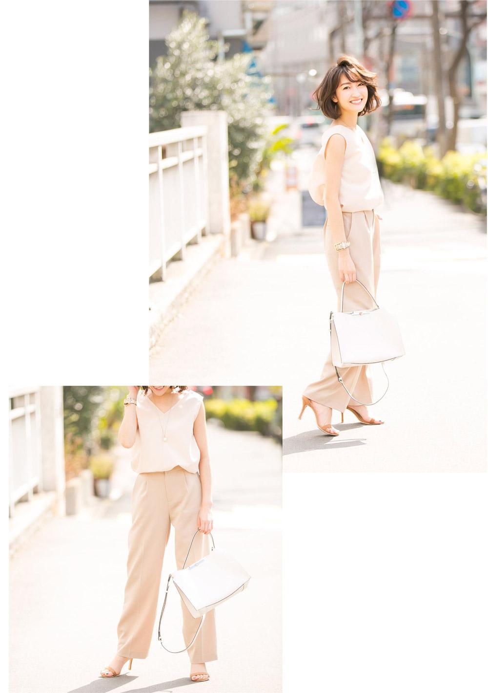 金子麻貴さんがプルオーバーとテーパードパンツでスタイリングしたコーデでポージング